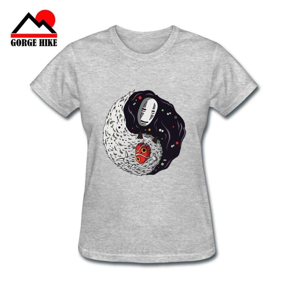 Yin Yang diseño mujer camiseta ghibli personaje femenino de manga corta Balance Natural sin rostro mononoke Tops camisetas Harajuku Camiseta con letras de amigos, camiseta de moda de verano para mujer con dibujos estéticos de amigos, pantalón corto informal de manga corta, graciosas camisetas coreanas para mujer