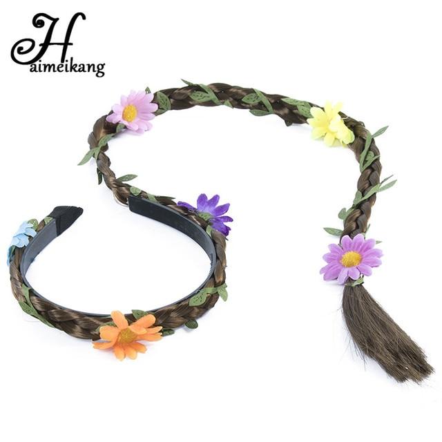 Haimeikang mujeres trenzado peluca trenza del pelo banda Adornos ...