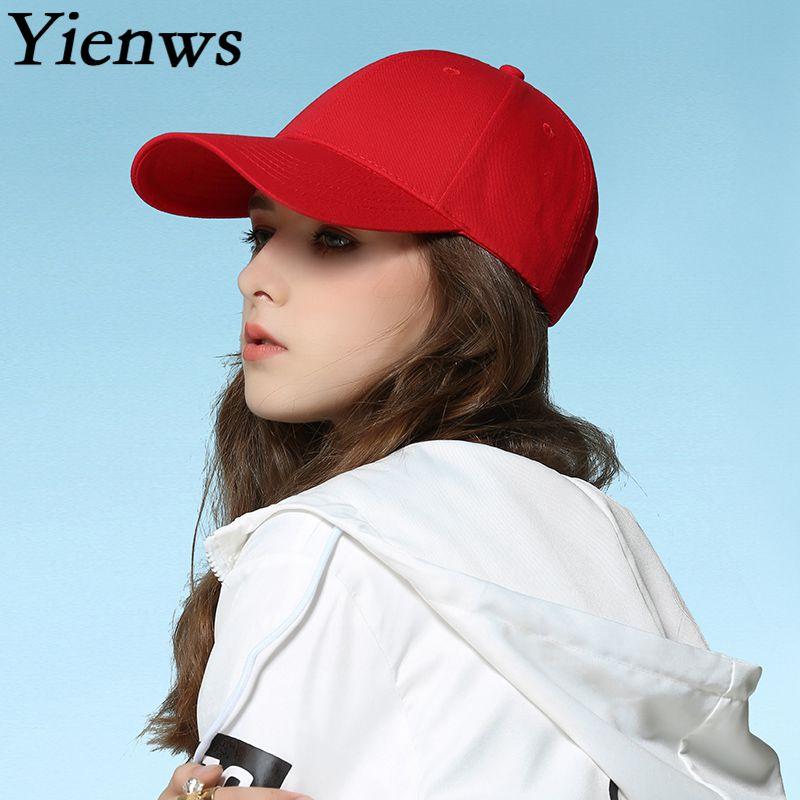 Yienws Brand Woman Baseball Caps Red Blank Bone Female Summer Hats for Women Curved Flap Brim Cheap Baseball Caps YIC503 yienws vintage jeans curve brim trucker