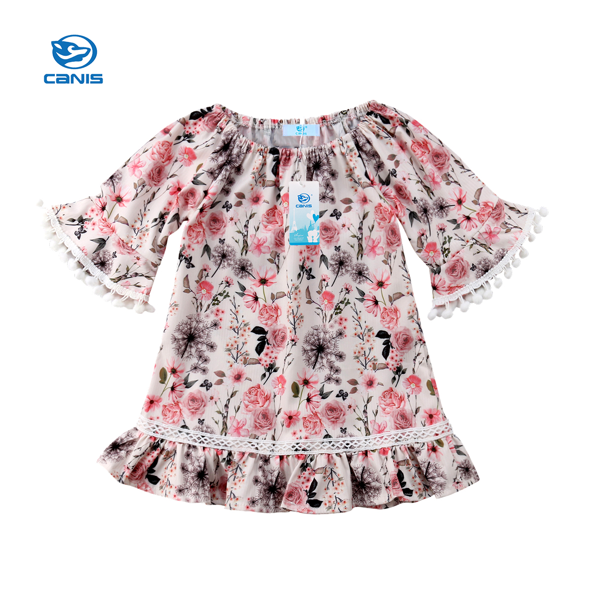 Summer Lovely Cute Kid Baby Girls Floral Tassels Short Sleeve Party Pageant Beige Dress Sundress Clothes