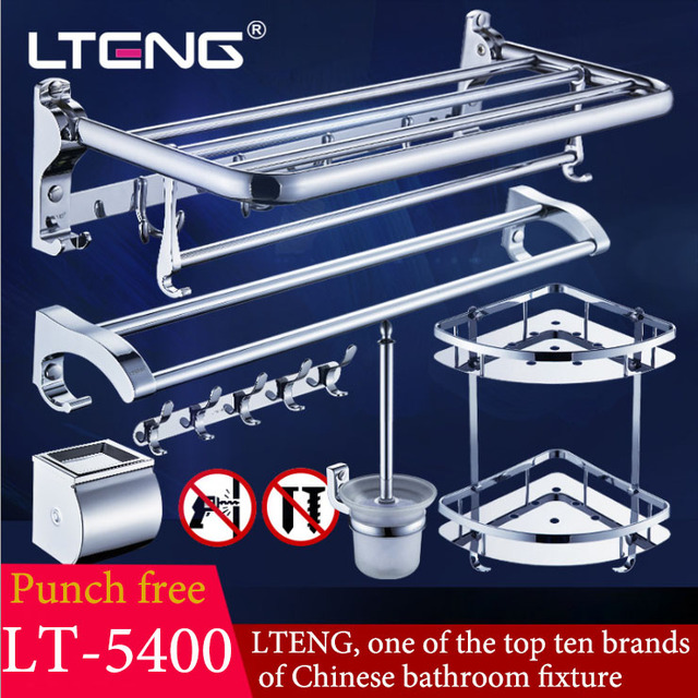 LTENG bathroom hardware pendant set punch-free bathroom shelf stainless steel towel rack bathroom towel rack free shipping to EU