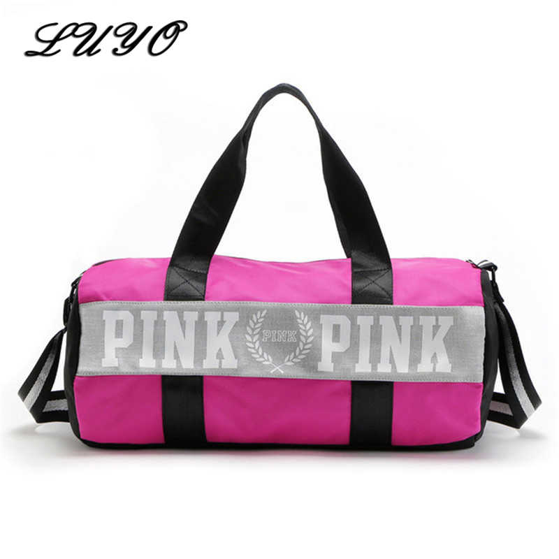 26c018cf16 Large Capacity Travel Gym Tote Luggage Weekend Duffel Bag Pink Stripe Duffle  Bag Secret Shoulder Bag