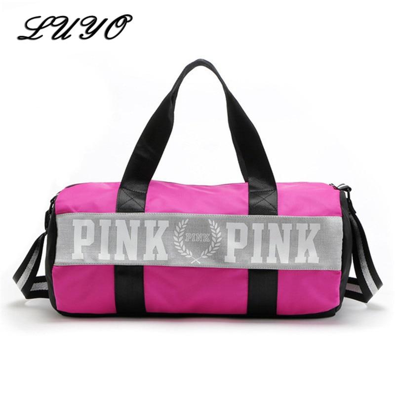 Large Capacity Travel Gym Tote Luggage Weekend Duffel Bag Pink Stripe Duffle Bag Secret Shoulder Bag Vs Handbags For Women
