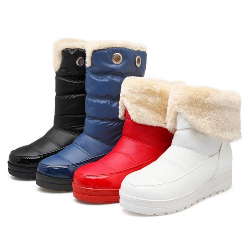 Marca Invierno azul Mujer Rusia Zapatos Nieve Moda rojo Mujeres Tamaño Impermeable Negro Piel Nueva Redonda 43 blanco Botas Felpa Punta 34 Nightcherry De wRf0zxq