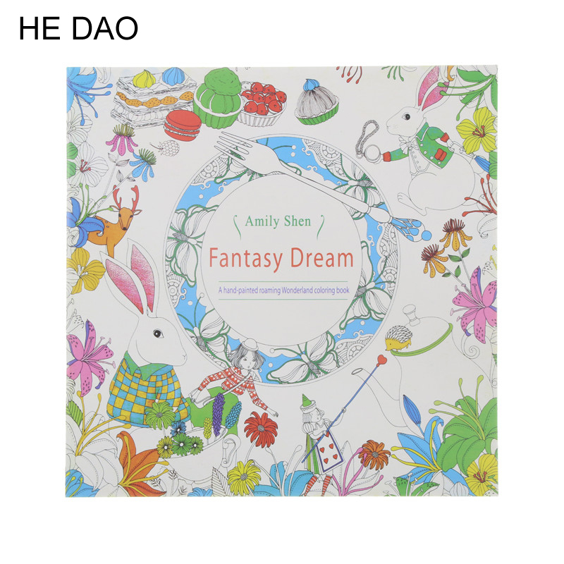 Fantasy Dream Coloring Book Painting Mandalas Secret Garden Color Drawing Alice In Wonderland 18.5*18.5cm 24pages