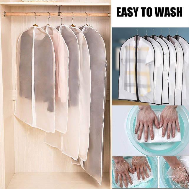3b1b49c8906f 6pcs/set Clothing Covers Clear Suit Bag Moth Proof Garment Bags Breathable  Zipper Dust Cover Storage Bags for Suit Dance Clothes