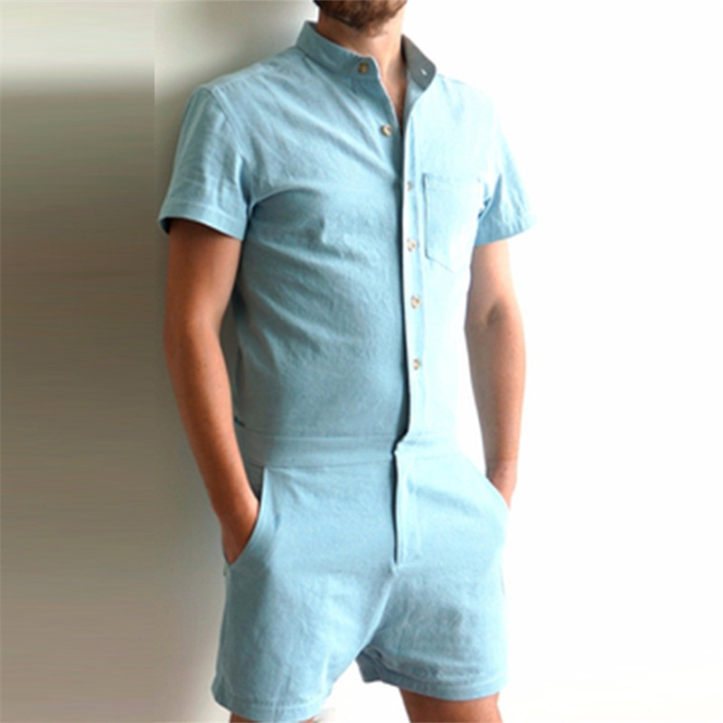 Summer Fashion Short Sleeve Mens Rompers Male Single ...