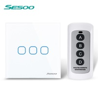 SESOO EU 3 Gang 1 Way Wall Light Touch Remote Control Screen Switch With Crystal Glass