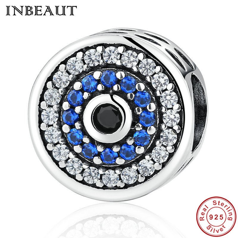 INBEAUT 925 Sterling Silver Round Blue CZ Devil Eye Black Zircon Beads fit Pandora Charm Bracelet Women Vintage Jewelry Making