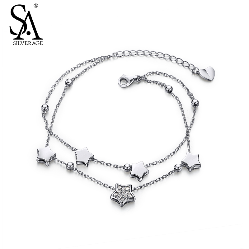SILVERAGE Real 925 Sterling Silver Bracelets Fine Jewelry for Women Star Two Layered 2016 New Top