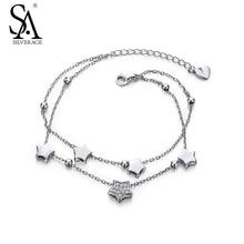 SILVERAGE Réel 925 Sterling Argent Bracelets Bijoux pour Femmes Étoiles Deux Couches 2016 Nouveau Top Qualité Noir Vendredi