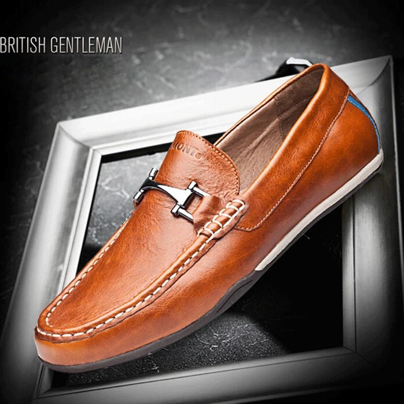 Vintage Mens Mão Confortável 53 Respirável Do De Feitos Marrom Genuíno Outono Casuais Primavera Slip on Mocassins Sapatos Eg Couro Brown À q06HxT