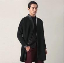 National costume winter wool coat gown modified leather edge Han Chinese retro male slim windbreaker hanfu China