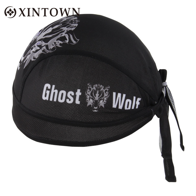 Xintown Cycling Sports Polyester Cap Sweatproof Breathable Quick Dry Pirate Bandana Bicycle Headband Unisex Ghost Wolf Style