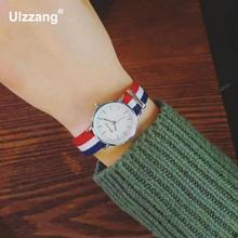 1pc Small Dial Silver Long Nylon Strap Sport Quartz Wrist Watch Women Ladies Girls Students Watch 5 Colors