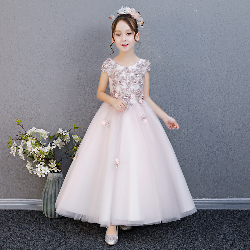 2018New Summer Kids Girl Flowers Evening Party Princess Long Dress Children Baby Ball Gown Formal Birthday Wedding Party Dress