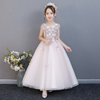 2018New Summer Kids Girl Flowers Evening Party Princess Long Dress Children Baby Ball Gown Formal Birthday Wedding Party Dress