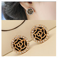 New 2016 Girl Brincos Earing Bijoux Love Gold Plated Round Flower Earrings For Women Wedding Jewelry Earings One Direction