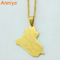 Republic Of Iraq Map Pendant Necklace Gold Plated Jewelry Map Of Iraq Necklaces 007921