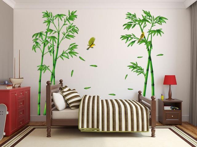 2 stks Groene Bamboe Bos Diepten Muurstickers Creatieve Muurstickers ...