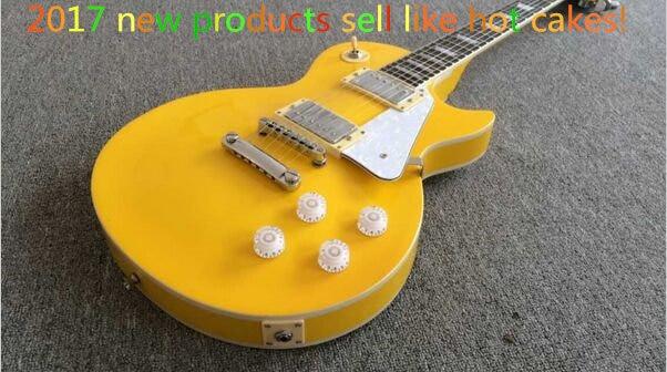 2019 nouveau + usine + Chibson personnalisé boutique guitare électrique brillant jaune personnalisé guitare électrique ébène Fretboard