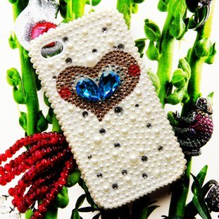 Wholesale Sweet Deco Bling Blue&Yellow Heart DIAMOND CASE HARD COVER FACEPLATE FOR IPHONE 5