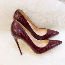 Free shipping fashion women Pumps lady burgundy patent leather snake Pointy toe high heels shoes 12cm 10cm 8cm party shoes цена