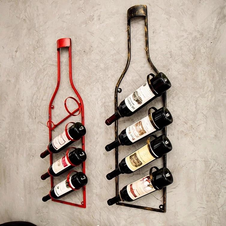 vintage wine rack wall hanging home restaurant bar wall pendant loft creative bar wall decoration wine bottle holder wall