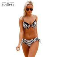 Hotapei novo Biquíni Sexy 2 pcs Mulheres Black White Striped Push Up Halter Swimsuit Swimwear Maiô Praia Desgaste Do Verão LC410167