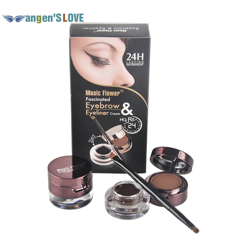 Free Shipping 2 Pcs / Set Eyeliner gel Eyebrow Power Eyeliner Brush Makeup 5 in1 Waterproof Black & Brown Color