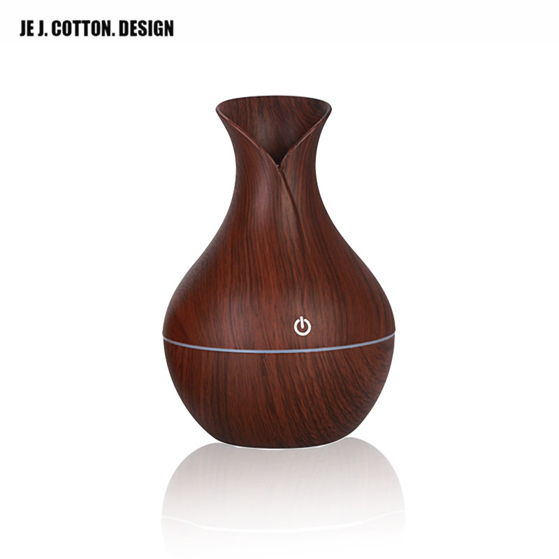 USB Air Humidifier Vase 130ML Wood Grain Aroma Diffuser Essential Oil Diffuser Ultrasonic Humidifier  Shape Mist Maker LED light aroma diffuser 130ml