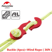 Naturehike 4pcs buckle+12m wind rope set S shape Tent Wind Rope Buckles Outdoor Camping Wind Rope stopper Antislip Buckles