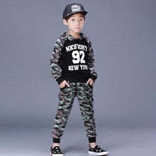 Fashion high quality camouflage hooded tops and pants set kids boys clothes 14 years