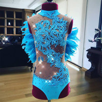 Blue feathers Bodysuit singer Sparkling sexy DS female costumes slim performance Rhinestones bodysuit Bar DJ show party stage