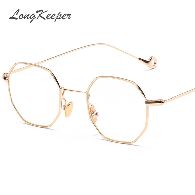 Tendências óculos de Sol Das Mulheres Pequeno Polígono Limpar Lens Óculos  De Sol de Marca Homens 2c50a44996