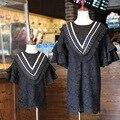 2016 Mãe e Filha Vestidos Lace Crochet V Neck Mãe e Filha Combinando Roupas Mulheres Meninas Mini Vestidos de Roupas Da Família