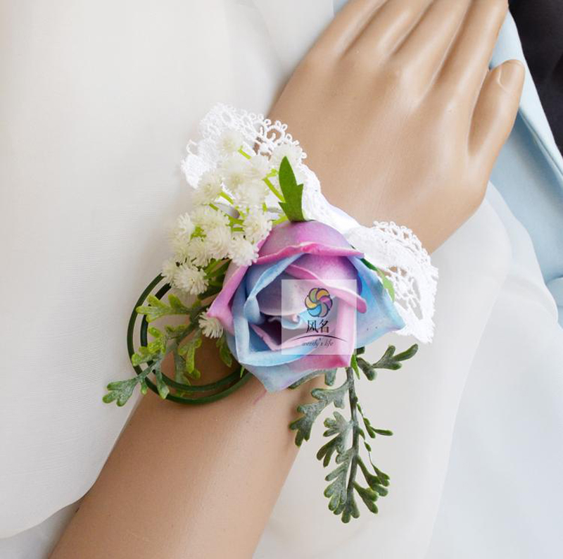 5pcs Lot Wedding Supplies Mother Bride Bridesmaid Hand Wrist Flower Women Corsage Artificial Flowers Rainbow Roses Handmade New In Dried