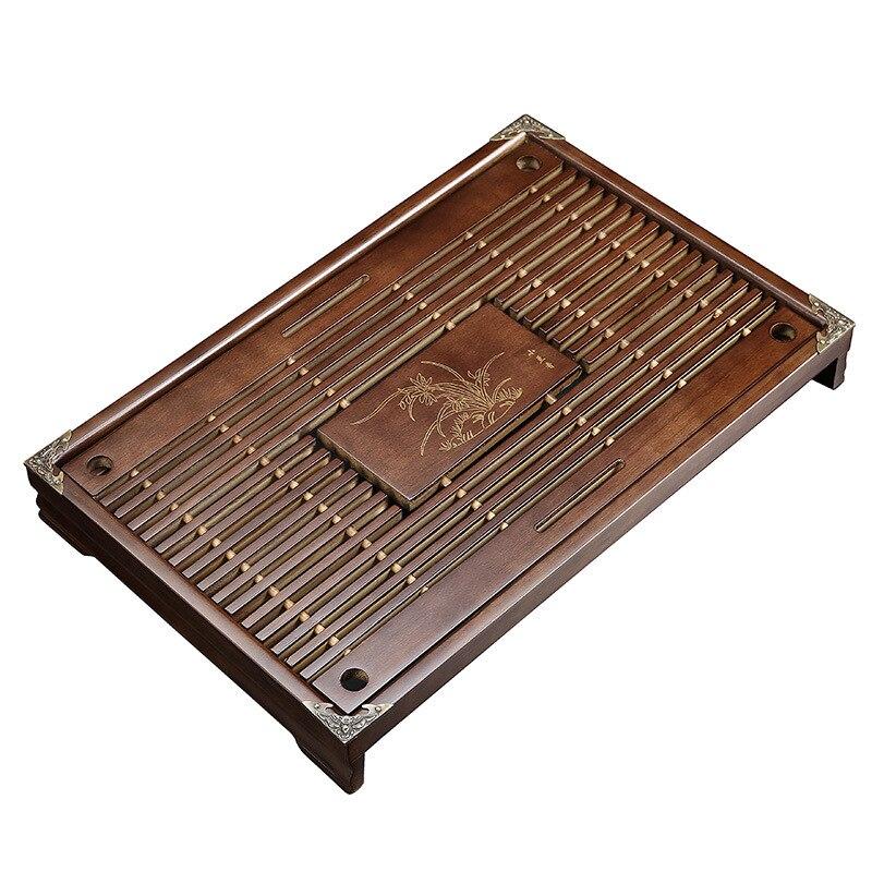 木製茶トレイカンフー茶セット引き出し茶水排水テーブルトレイ中国茶ルームセレモニーツール 43 × 27 × 5.5 センチメートル