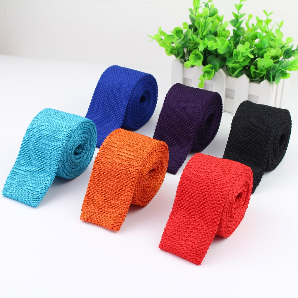 Men Knitted Knit Leisure Solid Color Ties Fashion Skinny Narrow Slim Neck Ties For Men Skinny Woven Designer Cravat