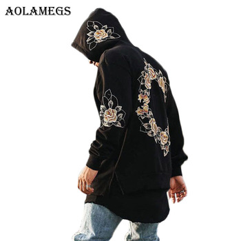 Hoodies Men Embroidery Floral Hooded Pullover