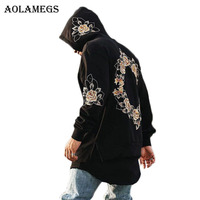 Aolamegs Hoodies Men Embroidery Floral Hooded Pullover High Street Fashion Cotton Hip Hop Zipper Streetwear O
