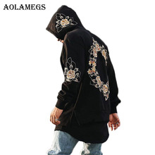 Aolamegs Men Embroidery Floral Hooded Pullover High Street Cotton Zipper O-neck