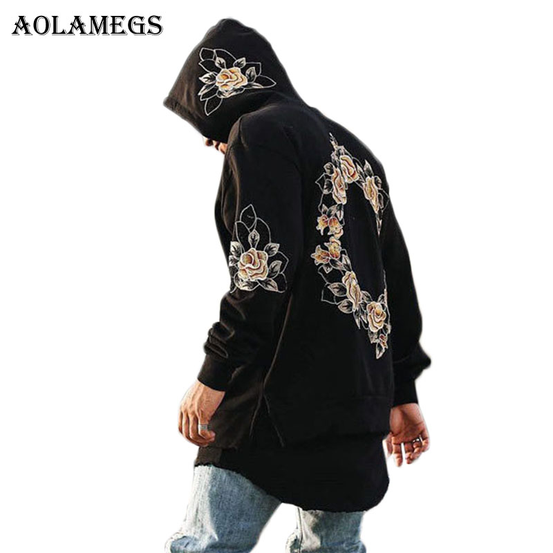 Aolamegs Sudaderas hombres Bordado floral con capucha pullover High Street moda algodón hip hop zipper streetwear o-cuello con capucha otoño
