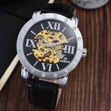 GOER марка Мужской кожаный наручные часы мужские механические часы Автоматические Светящиеся Спорта водонепроницаемый