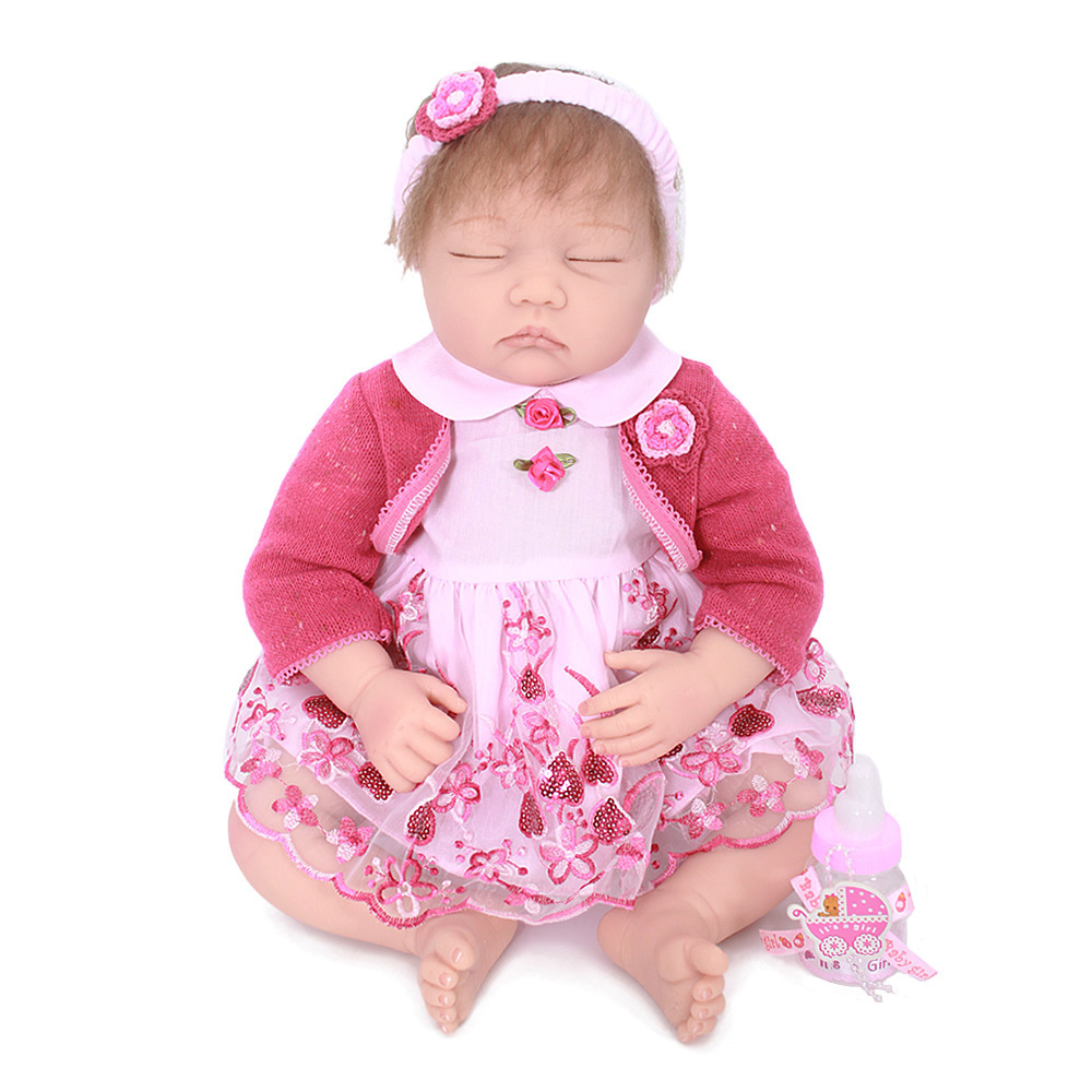 22 inches 55cm Handmade Lifelike Baby Girl Doll Silicone Vinyl Reborn Newborn Dolls Christmas bebe birthday gifts for children