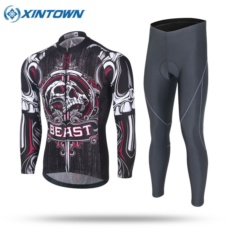 XINTOWN Cycling Jersey Sets 2017 Long Sleeve Mountain Bike Clothes Wear Maillot Ropa Ciclismo Quick Dry Racing Bicycle Clothing dichski outdoor bike coat quick dry mtb riding pants mountain 2017 long sleeve cycling sets suit male autumn winter jersey h233