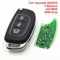 3 Botón Del Control Remoto Llave Del Coche Para Hyundai I20/IX35 Control Remoto Con Uncut Hoja ID46 Chip