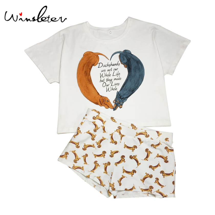b38bc1e5 Cartoon Dachshund Print New Women Pajama Cotton 2 Pieces Set Crop Top +  Shorts Elastic Waist