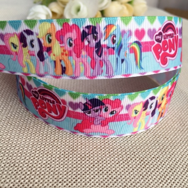 new sales 1 25MM My Little Pony Cartoon Character printed Grosgrain Ribbon party decoration satin ribbons 10yard Free shipping