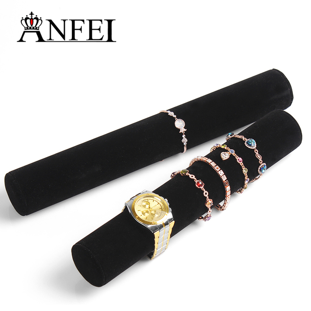 ANFEI 1pclot 30cm black velvet jewelry organizer bracelets display